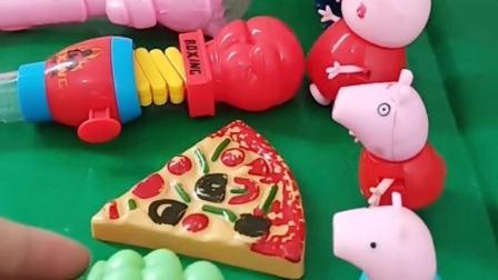 佩琪分到了好吃的披萨,乔治有一串酸葡萄,佩琪把披萨给乔治吃了.mp4