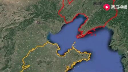 卫星地图看山东和辽宁相隔渤海湾160公里,环渤海湾走1400公里