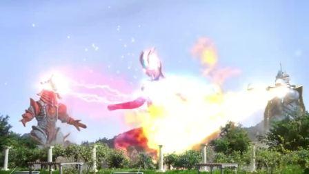 赛罗和初代奥特曼从欧布身上出来,怪兽两巴掌把他们打回欧布体内