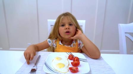 戴安娜清晨起床后,进行准备去学校的日常准备,独立完成真棒