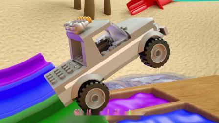 传输带看到各种汽车进入染料池变颜色,启蒙动画