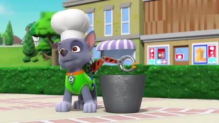 汪汪队与波特先生一起做比萨,他们要做世界上第一大的比萨!