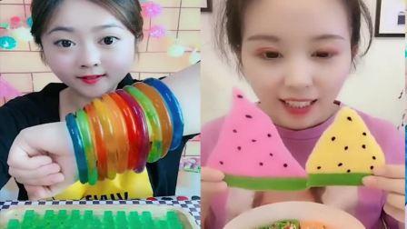 小可爱:果冻、巧克力, 小姐姐吃的真开心