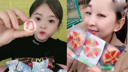 小姐姐试吃:草莓夹心巧克力、披萨糖果,甜甜的,看着就想吃