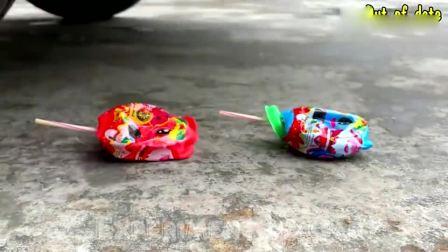 趣味实验:牛人驾驶汽车碾压彩色球球玩具,看着就过瘾