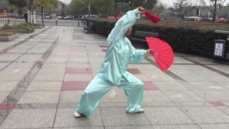 常熟武术协会武式分会吕以妹老师演练杨式48式太极双扇