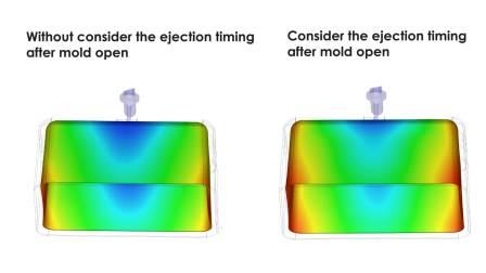 Moldex3D 2020 - 考虑延迟顶出对翘曲的影响