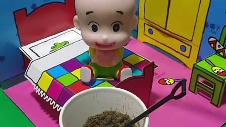 大头在吃围裙妈妈给自己买的吃土零食,小头爸爸却误会了,结果小头爸爸还要抢着和大头一起吃!