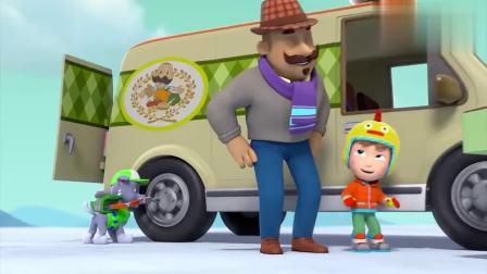 汪汪队:加比正在和莱德争夺波特先生的披萨。