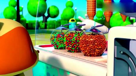 宝宝巴士:乐乐想要香草冰淇淋,机器人一下做好,撒上星星糖真好