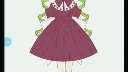 画穿可爱裙子的可爱小女孩