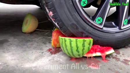 减压实验:汽车vs奶酪、水果等 外国牛人真牛 请勿模仿