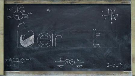 G67粉笔擦除数学公式元素黑板绘制Logo演绎动画学校教学微课堂宣传片头AE模板