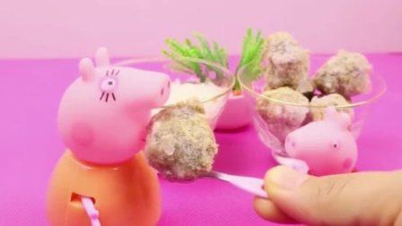 猪妈妈给佩奇准备了好吃的,佩奇要妈妈一起吃,佩奇好懂事呀!