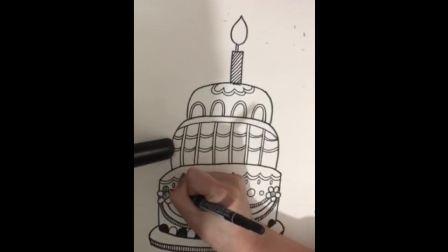 儿童线描画《生日蛋糕》.mp4