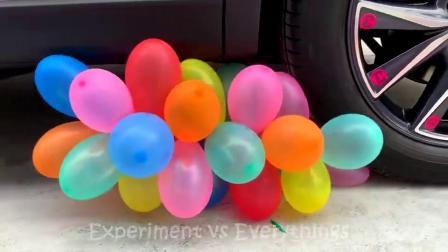 趣味实验;牛人将玩具小猪、气球放在车轮下,勿模仿