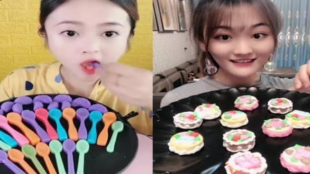 萌姐吃播:彩色小勺子巧克力、迷你蛋糕,是我童年向往的生活