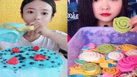 美女吃播:彩色爆浆蛋糕、小奶狗果冻,是我童年向往的生活