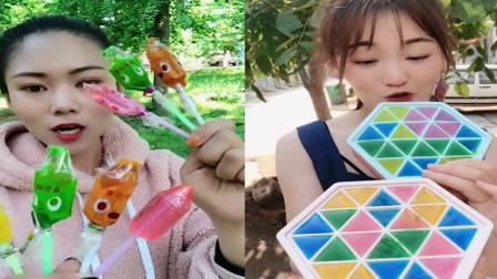 萌姐吃播:彩色棒棒糖、扣子巧克力,是我童年向往的生活