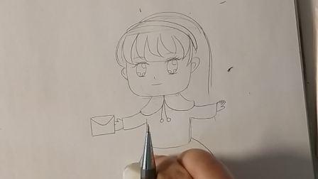 泓一彩虹糖儿童画《写信》