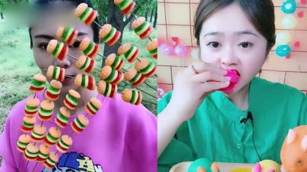 小美女吃播:彩色小兔子、汉堡小糖果,口味任意选,是我向往的生活