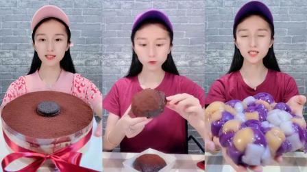 可爱小姐姐试吃巧克力千层蛋糕,好大的一盘吃的下去吗?