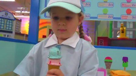 萌娃小可爱的冰淇淋店开业了!萌娃:卖冰淇淋啦!又香又甜的冰淇淋!