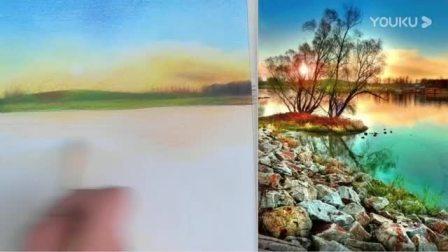 10-彩铅石头河畔风景图