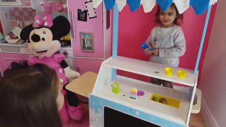 萌娃小可爱的冰淇淋店开业啦!—萌娃:卖冰淇淋!香甜美味的冰淇淋!