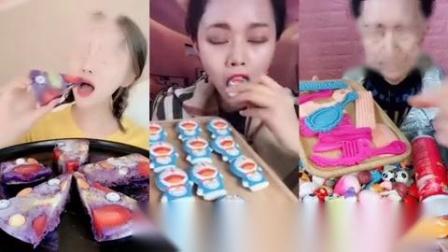 小可爱直播吃水果披萨饼,机器猫巧克力糖果
