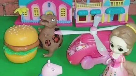 贝尔公主看到了小猪乔治有一些玩具和吃的,贝尔玩了玩玩具,乔治留下了汉堡