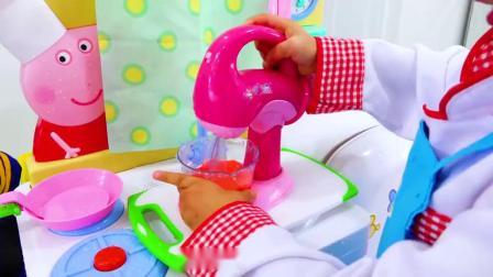 萌娃小可爱的移动小餐馆开始营业了,萌娃:你要的果汁和蛋糕做好了!