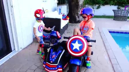 萌娃小可爱要做好事呢!小正太变身美国队长!萌娃:开着战车去帮助人喽!