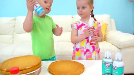 萌娃小可爱:哥哥,今天是妈妈的生日,我们一起给她准备一个漂亮的生日蛋糕吧!