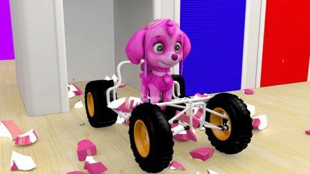 南瓜飞到汽车轮胎上,锤子敲打变出汪汪队小狗,启蒙学颜色