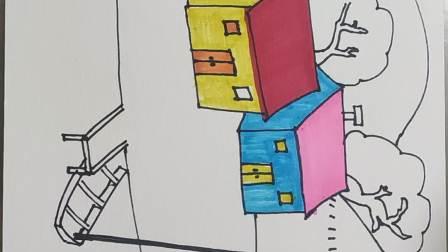 儿童画教学视频美丽的小山村