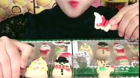 萌姐试吃:圣诞小饼干,好可爱的饼干呀!.mp4