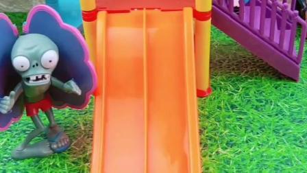 乔治发现梯子不见了,大家快来看看,乔治能找见梯子吗?