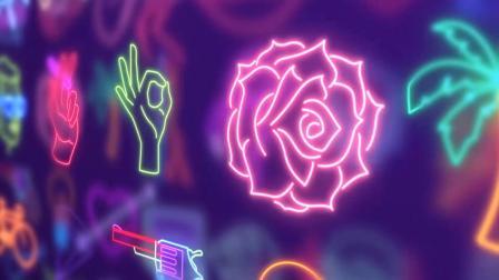 AE模板 现代时尚霓虹发光图形图标LOGO标志动画元素包100种+视频素材