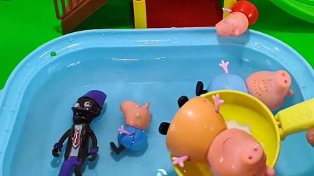 佩奇一家掉到水里了,就把佩奇一家救出来了,真是太好了
