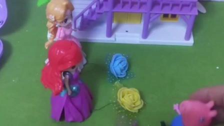乔治看到小花就想要,公主们把玫瑰花拿走了,乔治也想要玫瑰花!