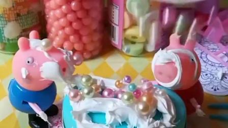 佩奇乔治在装饰蛋糕,结果佩奇乔治把奶油弄了一身,猪妈妈把她们当做怪兽了!