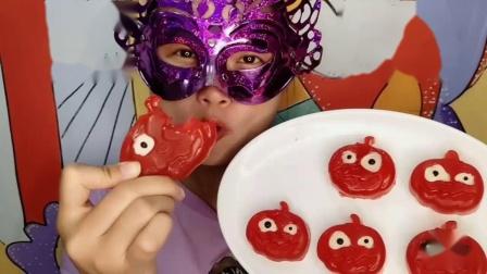 """女孩吃创意""""南瓜灯橡皮糖""""万圣节的味道,不给糖就捣蛋"""