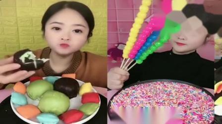 小姐姐直播吃:巧克力夹心蛋糕,果冻糖葫芦,各种口味任选
