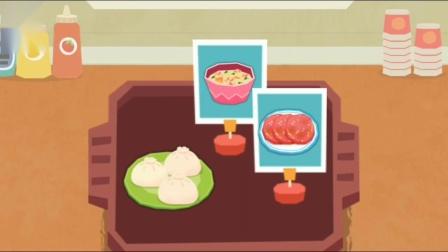 宝宝早餐店 妙妙店长给客人做包子,米粥和火腿肠