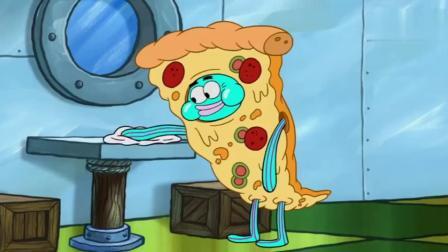 海绵宝宝在披萨店把披萨做成了披萨汉堡,又一次被开除了