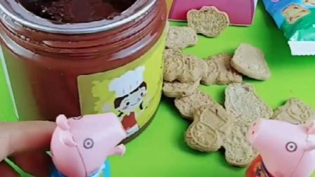 乔治和佩奇分饼干,乔治给佩奇做巧克力饼干,乔治太能干了!