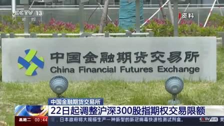 中国金融期货交易所:22日起调整沪深300股指期权交易限额