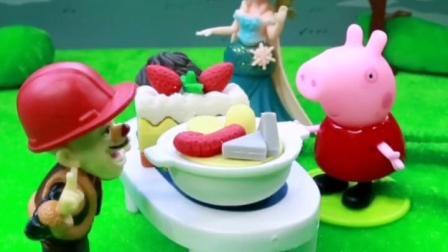 光头强在卖好吃的,佩奇买了好吃的蛋糕,爱莎给公主们买了冰淇淋!