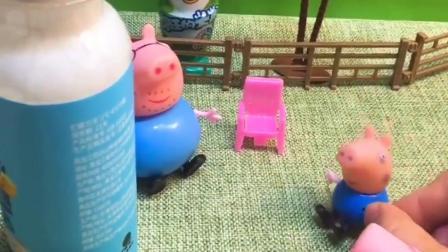 乔治吵着要喝酸奶,原来猪妈妈实在找猪爸爸做实验呢,猪爸爸真可怜!